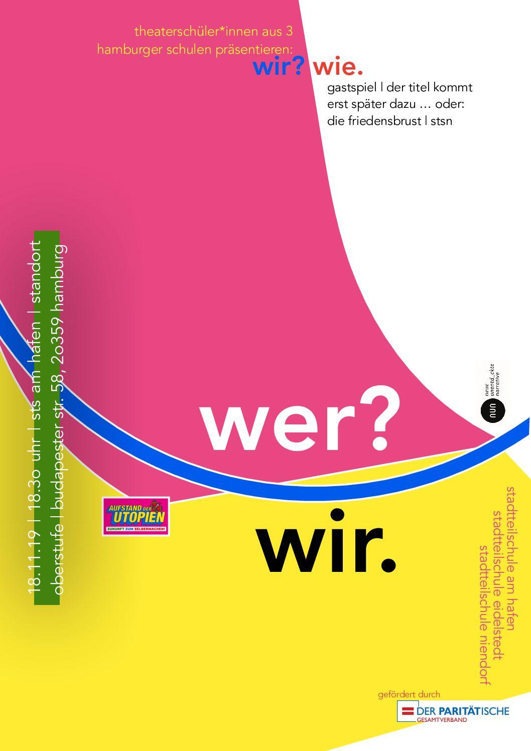 """Theaterprojektkurs präsentiert """"WIE/WIR"""" am 18.11.19 ab 18:30 Uhr in der Oberstufe"""
