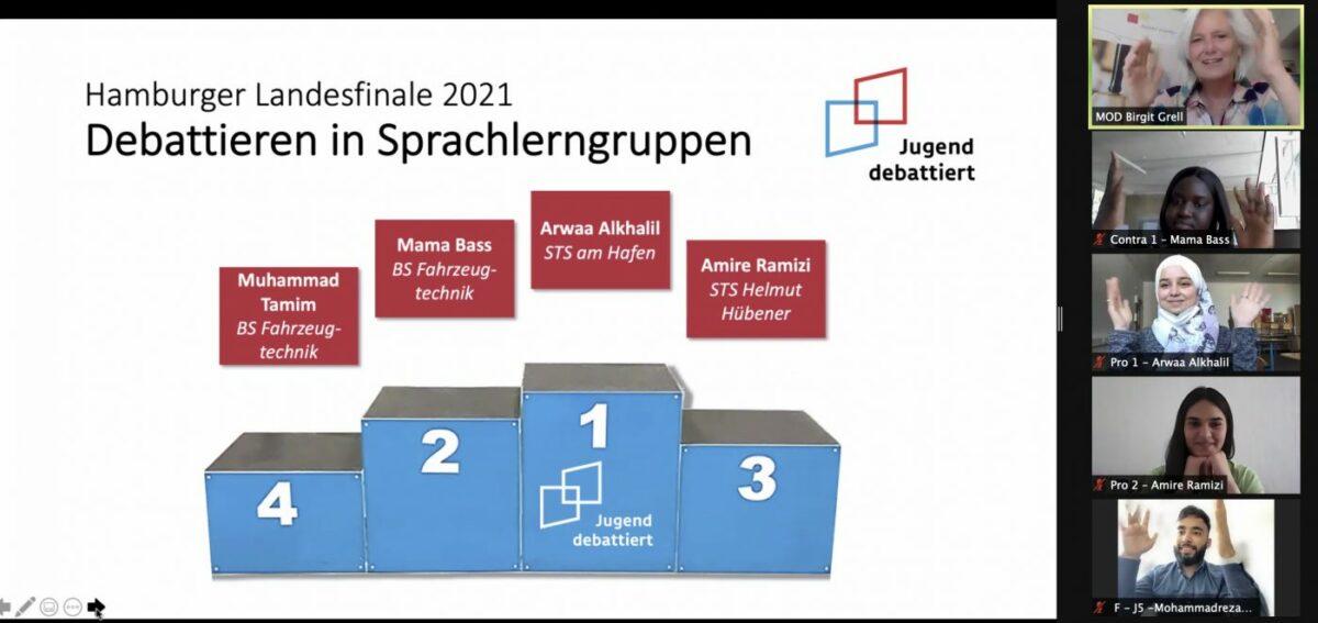 """Schülerin Arwaa Alkhalil belegt 1. Platz beim Hamburger Landeswettbewerb """"Debattieren in Sprachlerngruppen"""""""